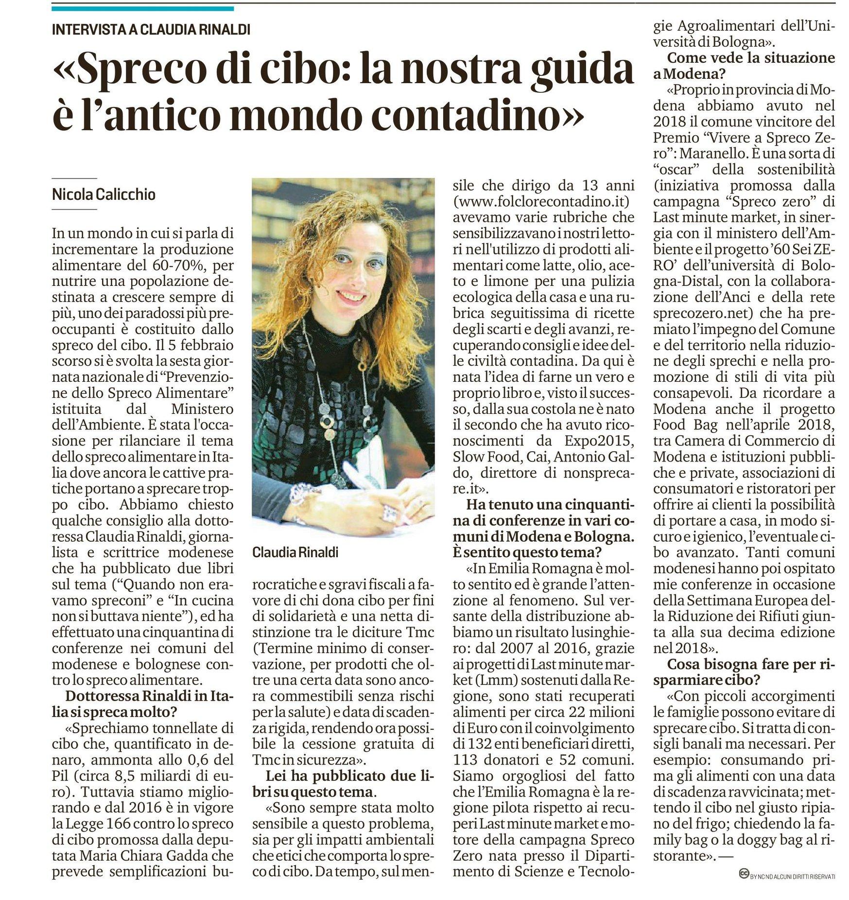 """Spreco di cibo: la nostra guida è l'antico mondo contadino """"La Gazzetta di Modena"""" del 22 Febbraio 2019"""