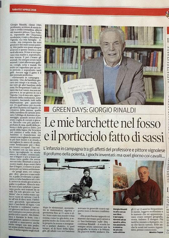 """Green days: l'infanzia del prof. Giorgio Rinaldi da """"La Gazzetta di Modena"""" del 7 Aprile 2018"""