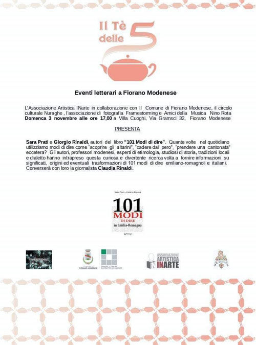 Domenica 3 Novembre alle ore 17 presso Villa Cuoghi a Fiorano Modenese