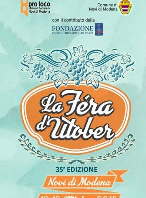 Sabato 12 Ottobre 2019, nell'ambito del La Fera d'Utober a Novi di Modena, alle ore 18.30